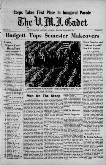 The Cadet. VMI Newspaper. February 03, 1961 - New Page 1 ...
