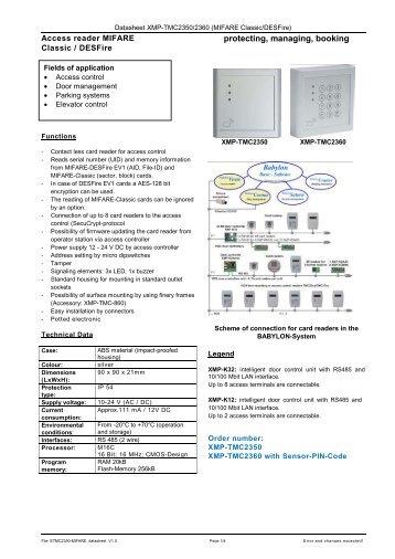 Download Data sheet XMP-TMC2350 MIFARE
