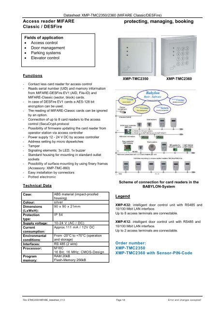 Download Data sheet XMP-TMC2350 MIFARE