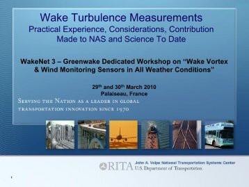Wake Turbulence Measurements – Practical experience ... - WakeNet