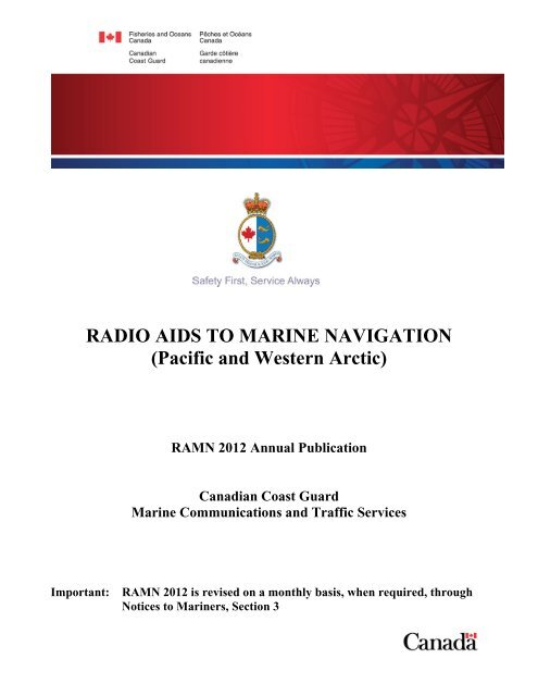 RADIO AIDS TO MARINE NAVIGATION (Pacific and Western Arctic)