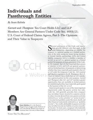 Individuals and Passthrough Entities By Susan Kalinka Garnett - CCH
