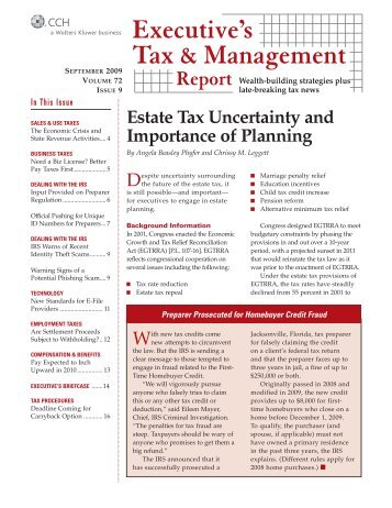 Top federal tax issues for 2011 cch testing center estate tax uncertainty and importance of planning cch fandeluxe Images