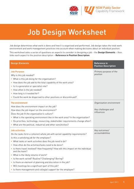 Job Design Worksheet - NSW Public Sector Capability Framework