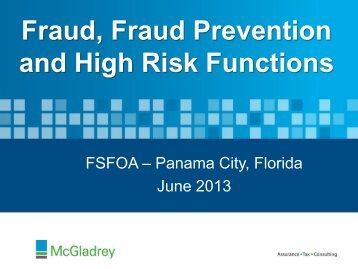 Fraud, Fraud Prevention, and High Risk Functions