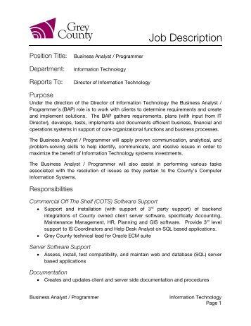 Job Description: Information Systems Analyst   Sacramento County