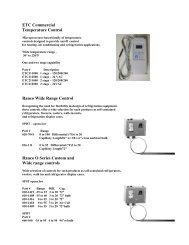ETC Commercial Temperature Control Ranco Wide Range ... - Eastern