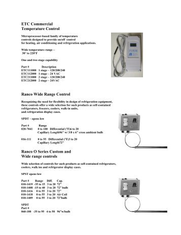 ranco electronic temperature control how to set