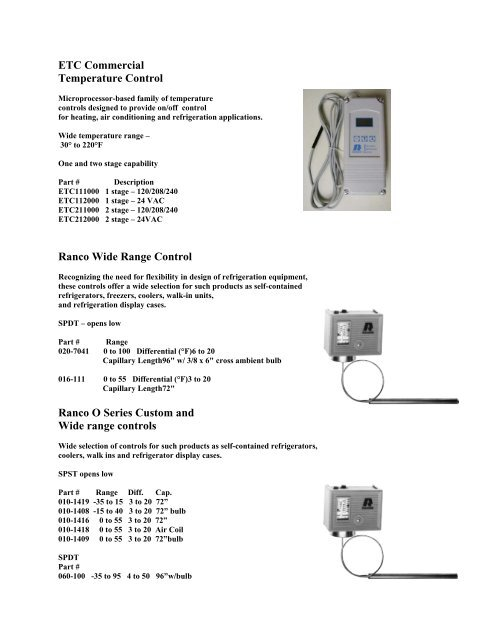 ETC Commercial Temperature Control Ranco Wide Range