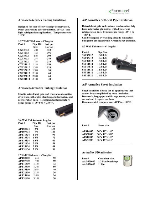 tubing, fittings, insulation - Eastern