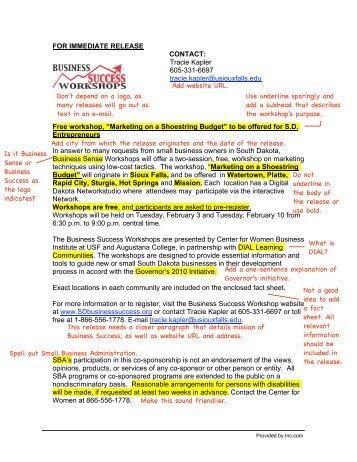 FOR IMMEDIATE RELEASE CONTACT: Tracie Kapler 605 ... - Inc.com