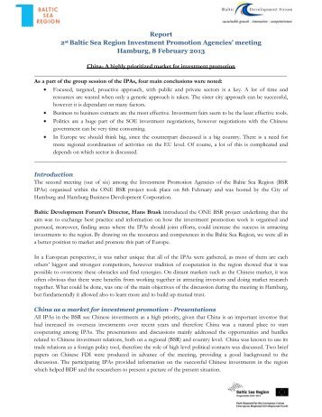 Report 2st Baltic Sea Region Investment Promotion Agencies ...