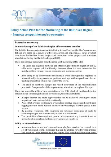 Policy Action Plan for the Marketing of the Baltic Sea Region ...