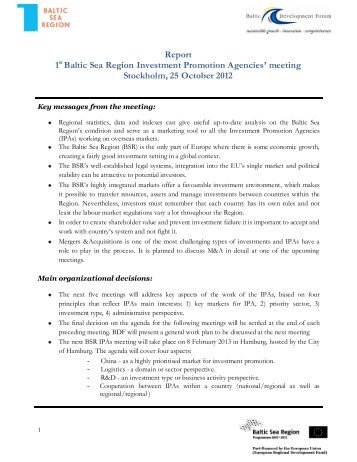 Report 1st Baltic Sea Region Investment Promotion Agencies ...