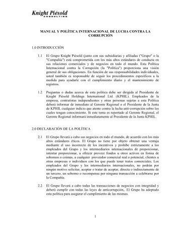 Manual y política internacional de lucha contra la ... - Knight Piésold