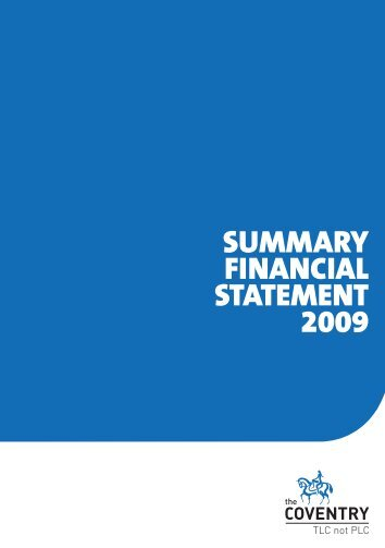Summary financial statement 2009 (PDF) - Coventry Building Society