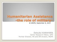 Humanitarian Assistance -the role of military-