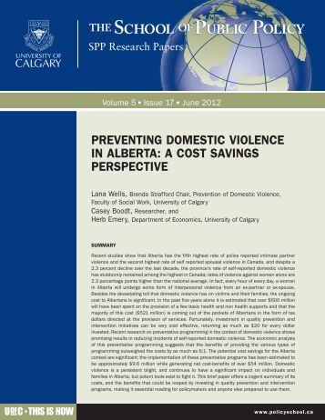 preventing domestic violence in alberta: a cost savings perspective