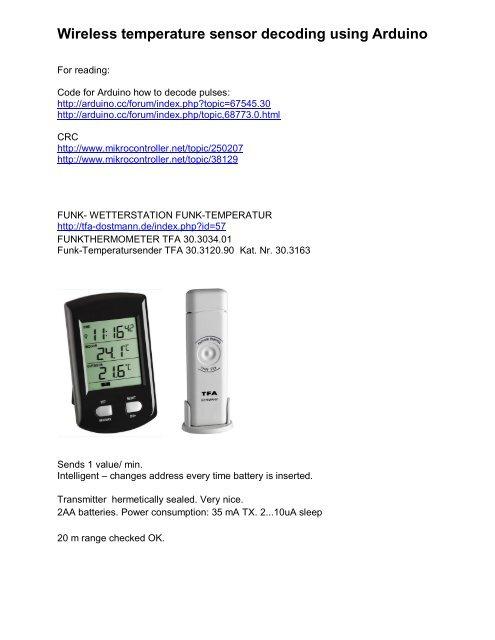 Wireless temperature sensor decoding using Arduino