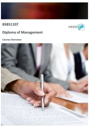 Diploma of Management Course Overview September 2013 - Vecci