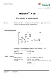 HOSTAVIN N 30 FOR PLASTICS - TDS - Clariant