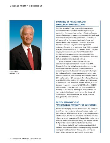 message from the president overview of fiscal 2007 and projections ...