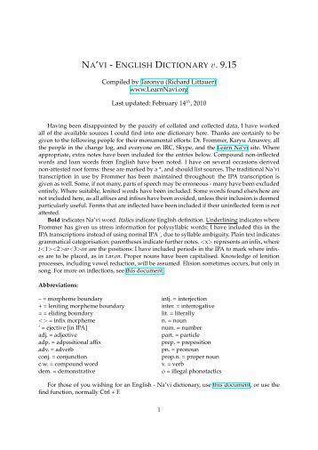 NA'VI - ENGLISH DICTIONARY v. 9.15 - Tanulj Na'vit