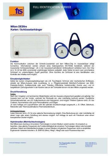 Mifare DESfire Karten / Schlüsselanhänger