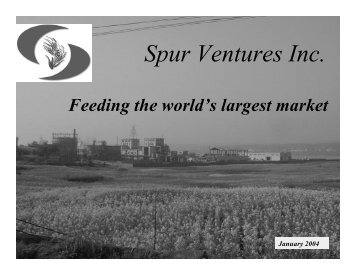 2004-01-14 Spur corporate presentation - Spur Ventures Inc.