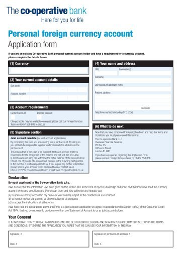 Personal foreign currency account Application form - The Co ...