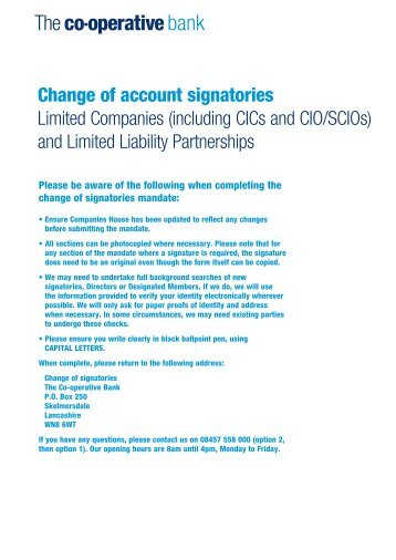 Change of account signatories Limited Companies - The Co ...