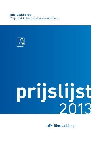 Itho Daalderop Prijslijst kokendwaterassortiment - Zakelijk
