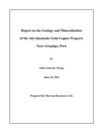 Report on the Geology and Mineralization of the Alto Quemado Gold ...