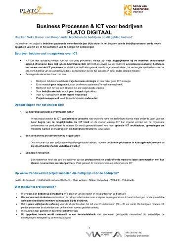 Business Processen & ICT voor bedrijven PLATO DIGITAAL - Voka