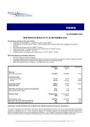 nine months results to 30 september 2005 - Royal and Sun Alliance