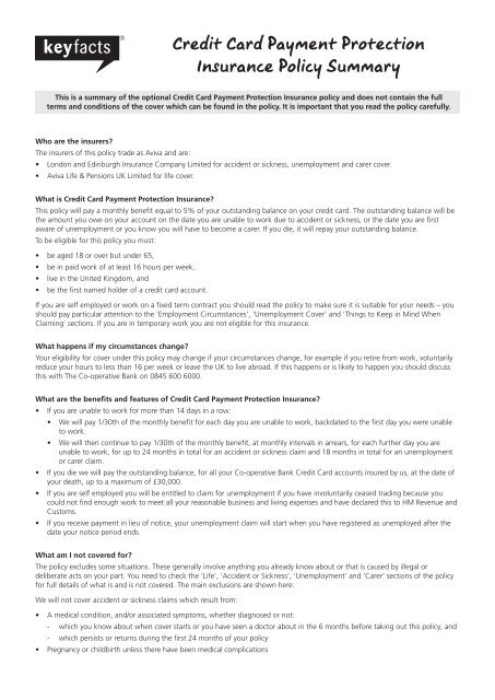 Credit Card Payment Protection Insurance Policy Summary The Co
