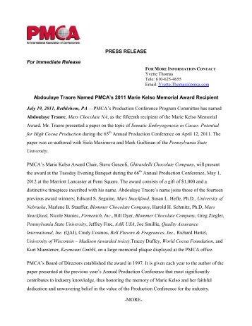 2011 Marie Kelso Award Press Release - PMCA