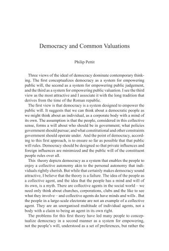 Philip Pettit Democracy and Common Valuations - Tampere klubi ...