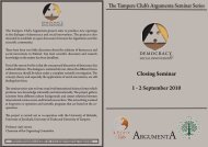 Closing Seminar 1 - 2 September 2010 & - Tampere klubi - The ...