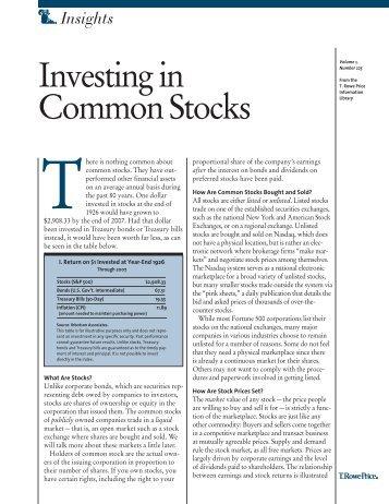 COMMON STOCK - T. Rowe Price