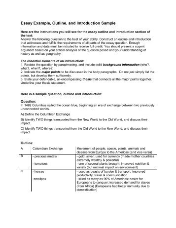 essay example outline and introduction sample essay