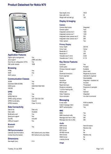 Product Datasheet for Nokia N70 - Vodafone New Zealand