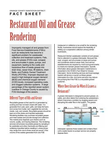 Restaurant Oil and Grease Rendering - Orange County Sanitation ...