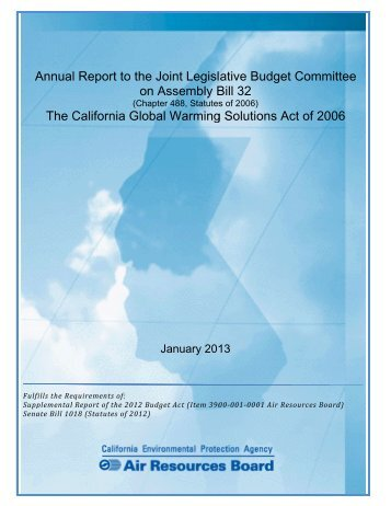 Annual Report to the Joint Legislative Budget Committee on ...