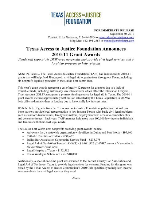 Dallas-Fort Worth area - Texas Access to Justice Foundation