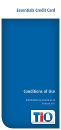 Conditions of Use Essentials Credit Card