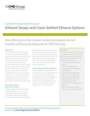 Ethanol Swaps and cash-Settled Ethanol options - Sona Trading