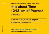 It is about Time (243 cm of Poems) - Romano Hänni, Studio for Design