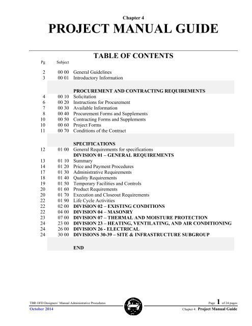 Tennessee Board Of Regents >> Chapter 4 Project Manual Guide Tbr Tennessee Board Of