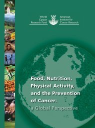 Food, Nutrition, Physical Activity, and the Prevention of ... - Vegetarian